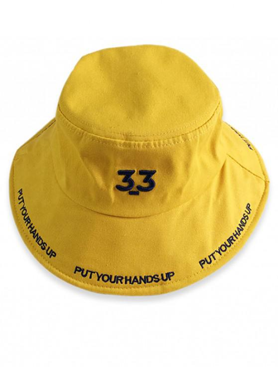25ea7a540e52b 20% OFF  2019 Embroidery Number Letter Bucket Hat In YELLOW