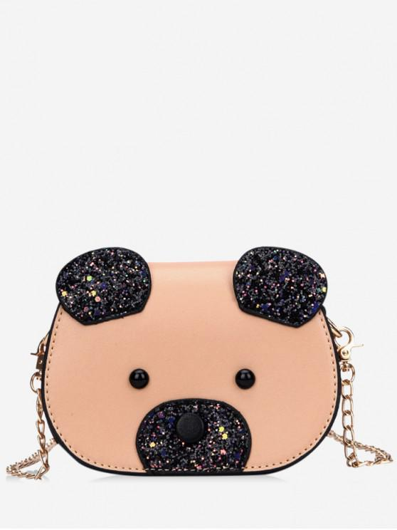 new Shiny Bear Chain Crossbody Bag - KHAKI