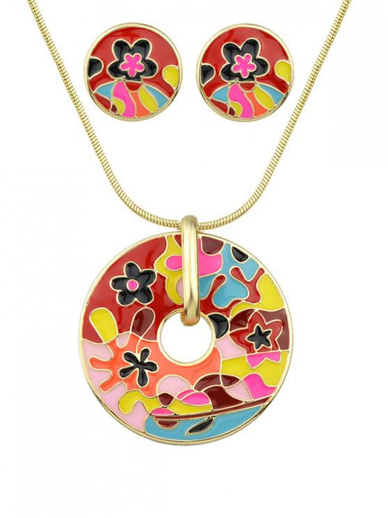 trendy Floral Round Pendant Necklace with Earrings - RED