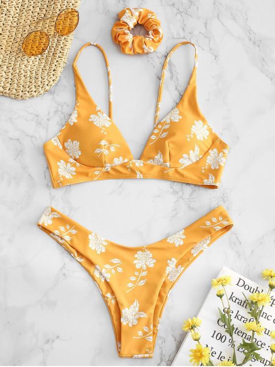 latest ZAFUL Flower Bikini Set with Hairband - RUBBER DUCKY YELLOW L