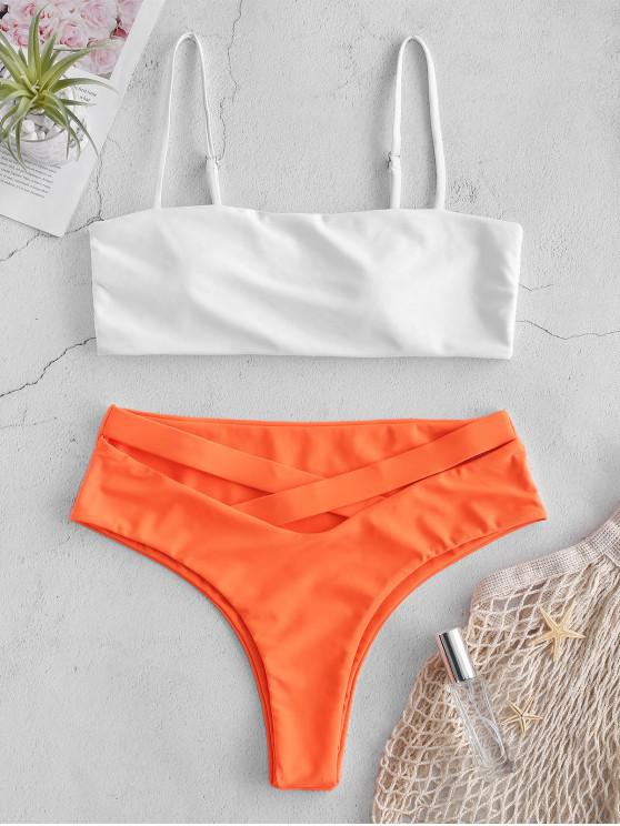 fancy ZAFUL Cami Color Block Criss Cross Bikini Set - ORANGE L