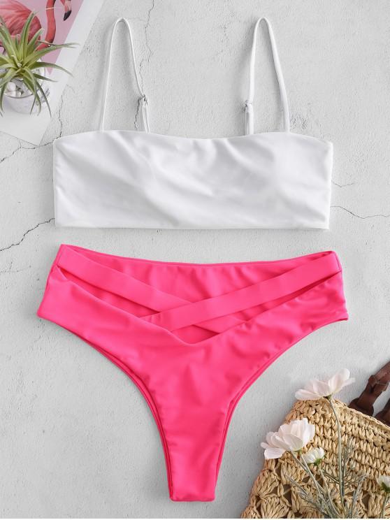 trendy ZAFUL Cami Color Block Criss Cross Bikini Set - VIOLET RED L