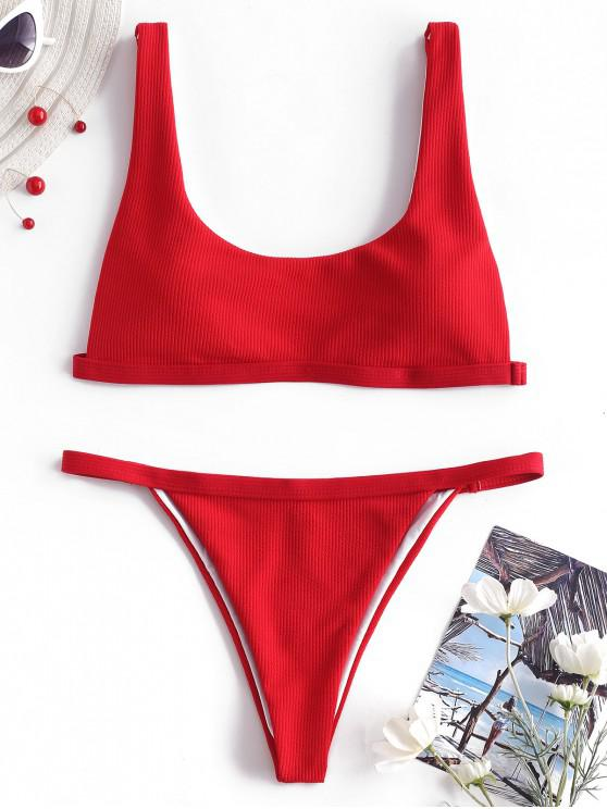 Bikini acolchado con pierna alta acanalada - Rojo L
