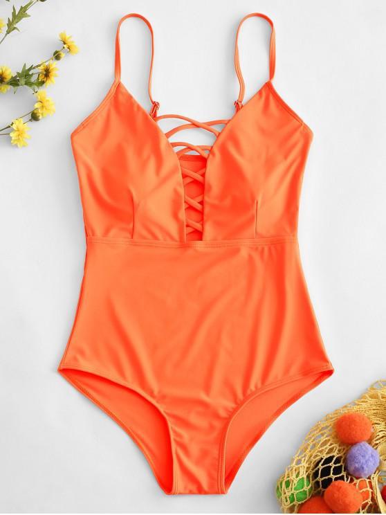 Kreuzes und Queres Gestaltende  Einteiliger Badeanzug - Orange S