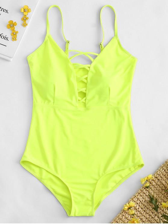 ladies Shaping Crisscross Plunge One-piece Swimsuit - TEA GREEN S
