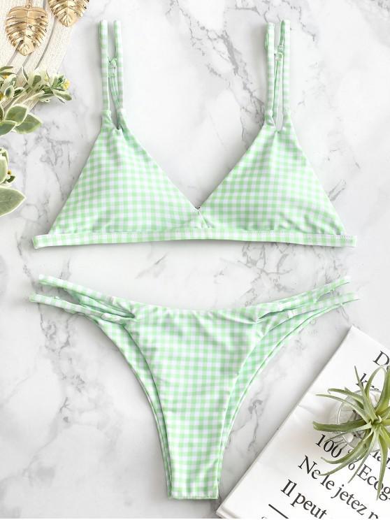 womens ZAFUL Plaid Strappy Bikini Set - MINT GREEN M