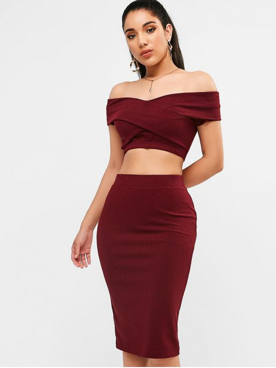 shops ZAFUL Knit Crop Tee and Pencil Skirt Set - RED WINE S