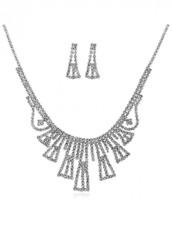 Traje de la joyería de la franja del Rhinestone de la boda - Plata