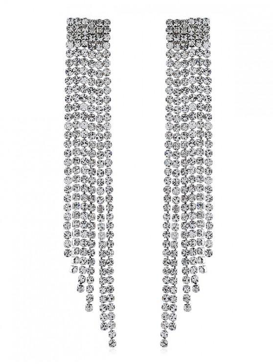 latest Bridal Rhinestone Tassel Earrings - SILVER