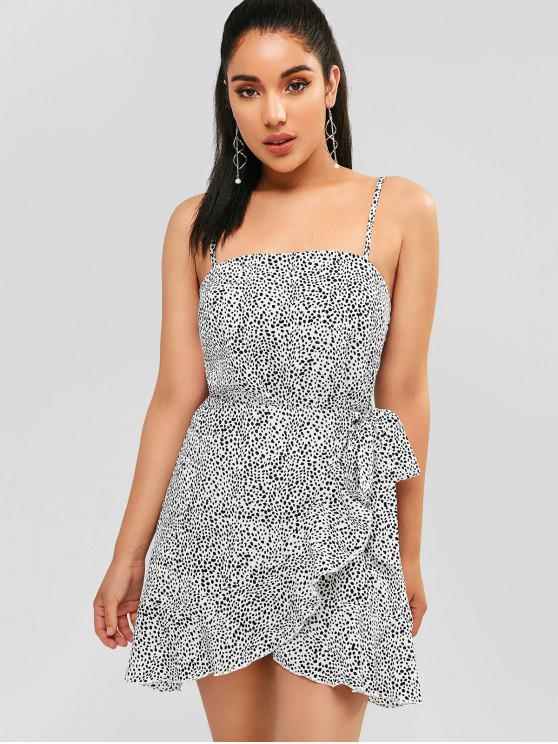 best ZAFUL Knotted Ruffles Speckled Dots Dress - WHITE L