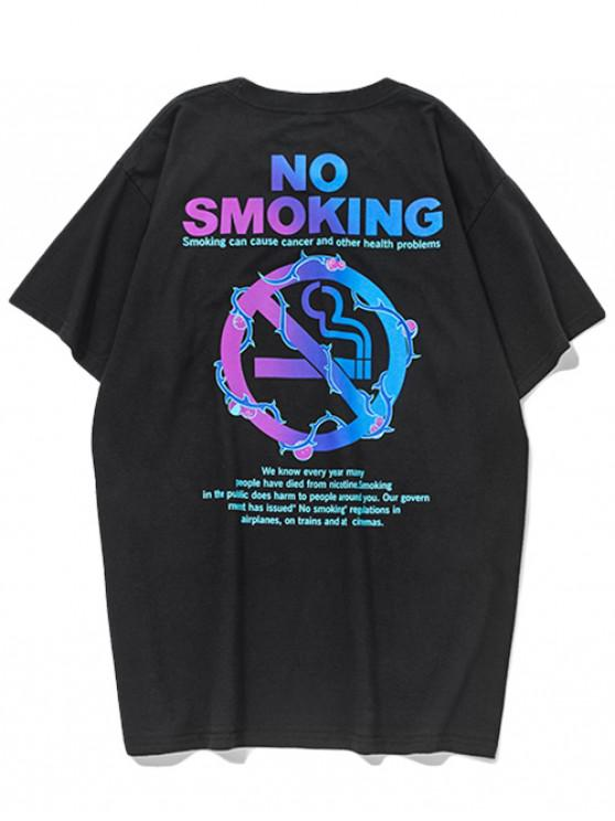 new No Smoking Letters Graphic Print T-shirt - BLACK S
