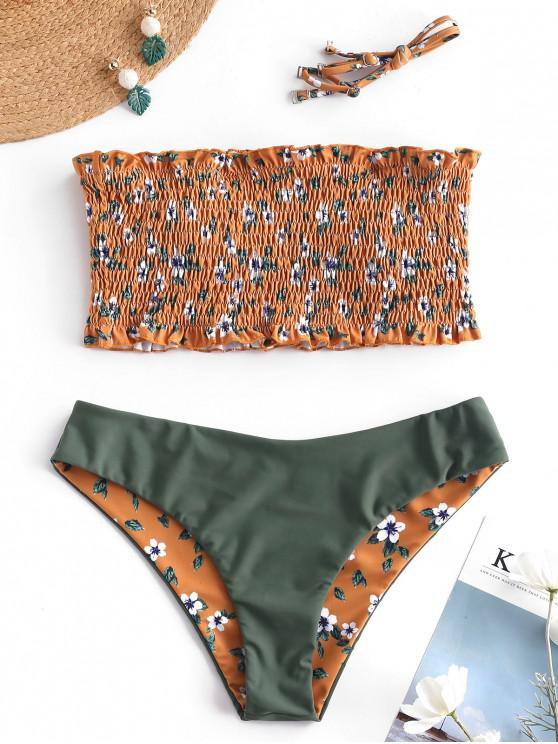 lady ZAFUL Floral Shirred Reversible Bikini Set - ORANGE GOLD M