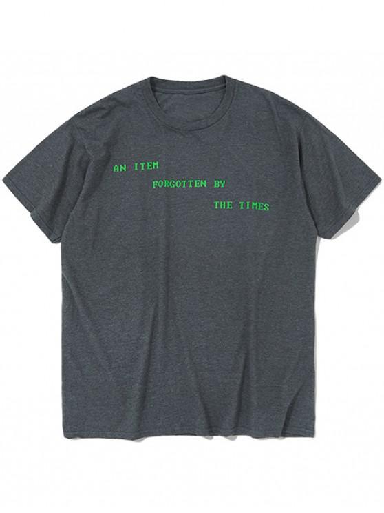 T-shirt Lettre Imprimée à Manches Courtes - Gris Carbone S