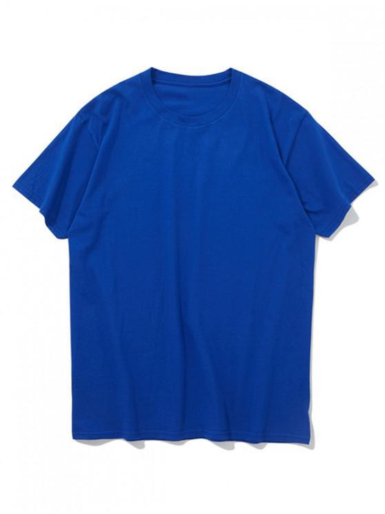 Kurze Ärmel einfarbig reine Farbe T-Shirt - Blaubeere L