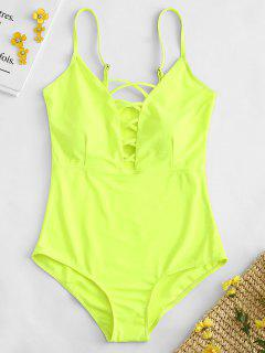 Shaping Crisscross Plunge One-piece Swimsuit - Tea Green S