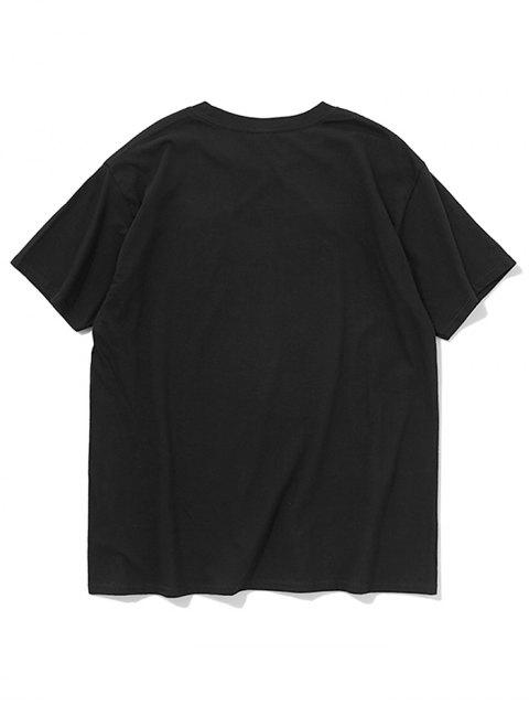 affordable Salted Fish Letters Print Casual T-shirt - BLACK S Mobile