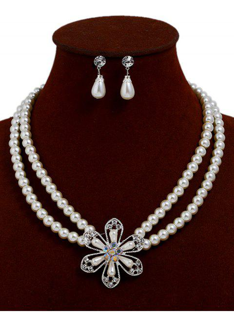 womens Flower Faux Pearl Necklace with Earrings - WHITE  Mobile