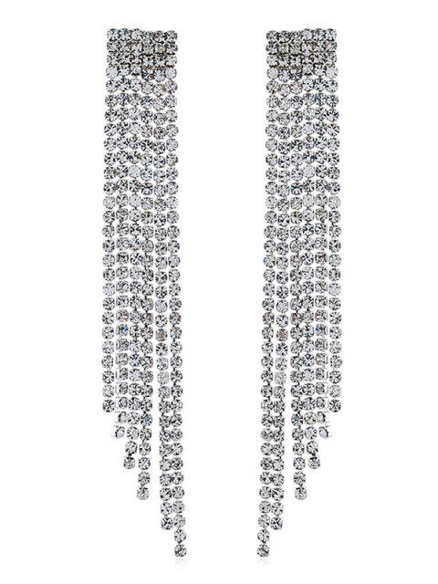 latest Bridal Rhinestone Tassel Earrings - SILVER  Mobile