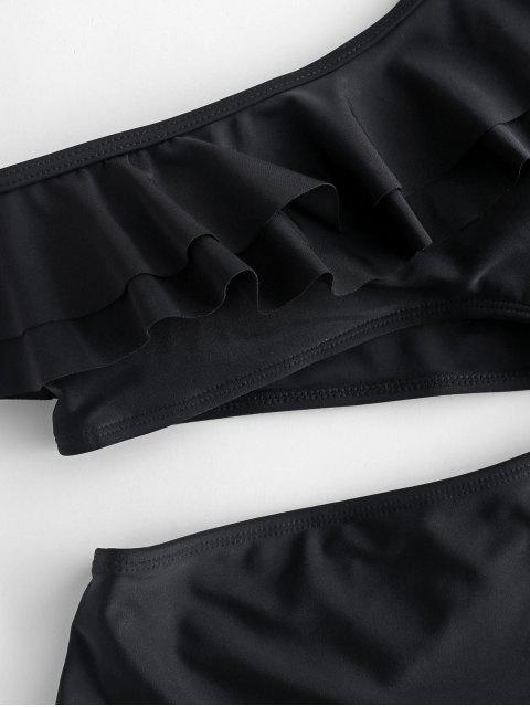 shop ZAFUL One Shoulder Ruffle Cut Out Swimsuit - BLACK M Mobile