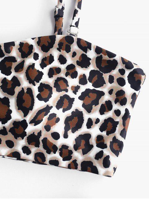 sale ZAFUL Leopard Snake Print Bandeau Bikini - LEOPARD S Mobile