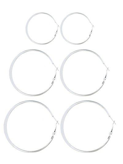 3 Pairs Alloy Hoop Earrings Set - Silver