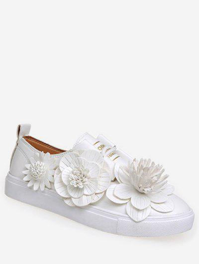 af62c7d8d6e19 Floral Design Lace Up Casual Flats - White Eu 38 ...