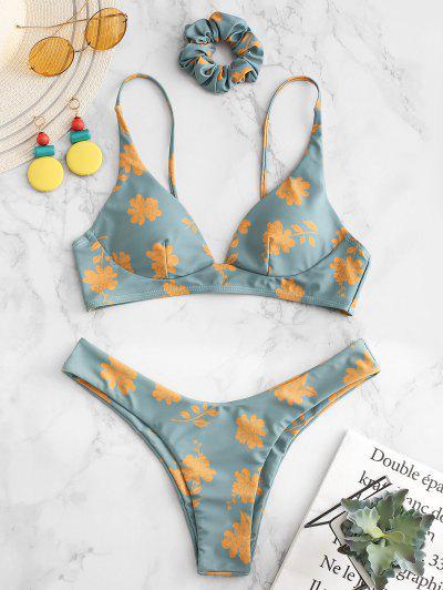 d06a246ce5 ZAFUL Flower Bikini Set With Hairband - Cyan Opaque L ...