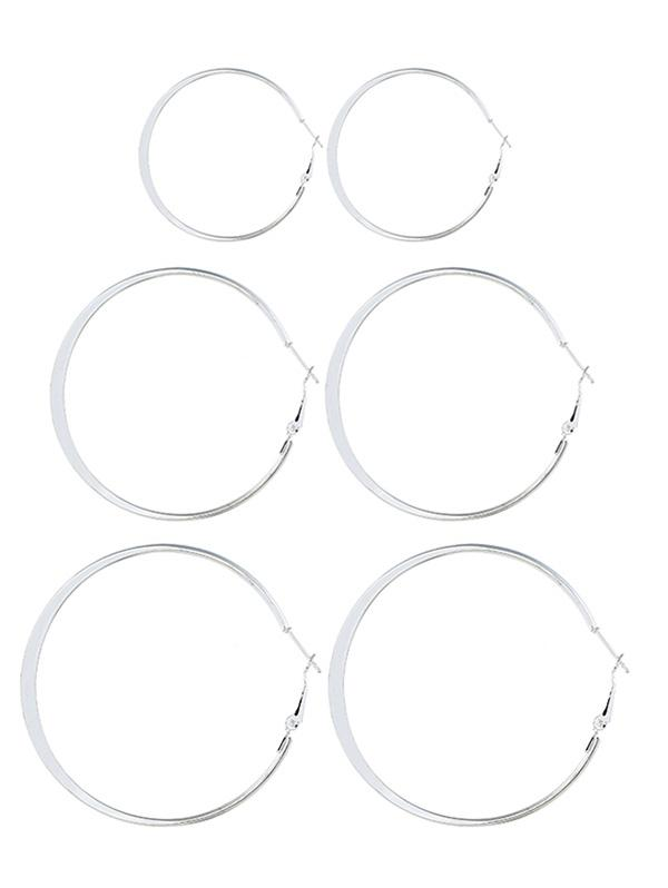 3 Pairs Alloy Hoop Earrings Set