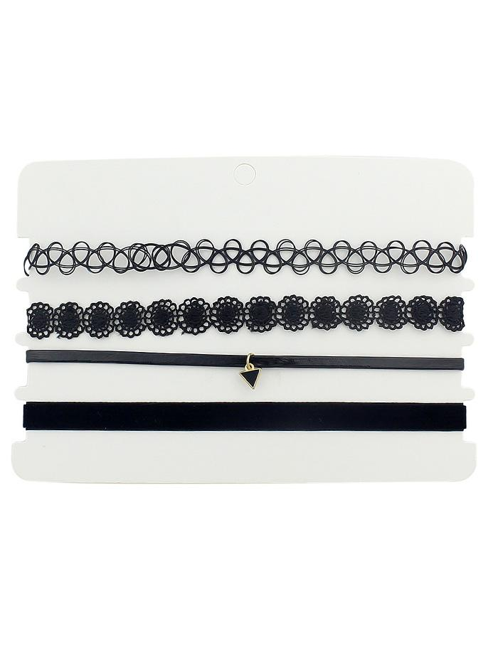 4Pcs Flower Triangle Choker Necklace Set