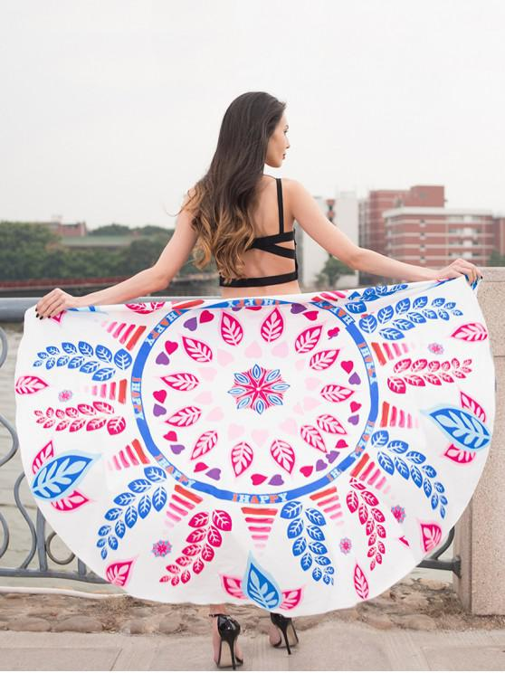 trendy Flowers Leaves Printed Round Beach Towel - WHITE
