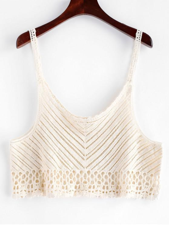 womens Cropped Crochet Camisole - BEIGE ONE SIZE