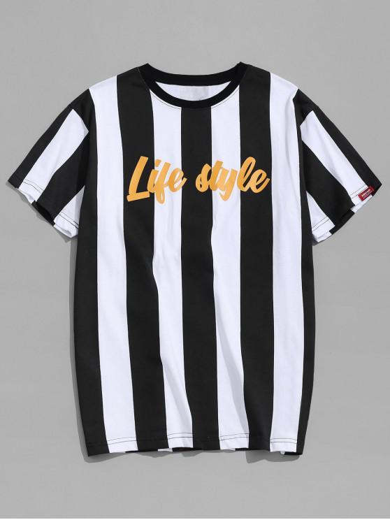 T-shirt de impressão de carta de riscas verticais - Preto M