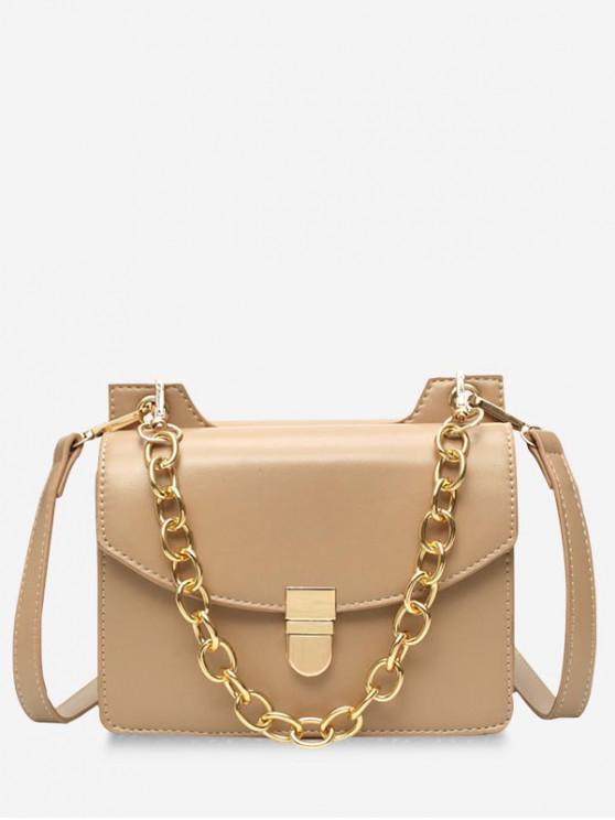 lady Glossy Hasp Chain Design Shoulder Bag - KHAKI