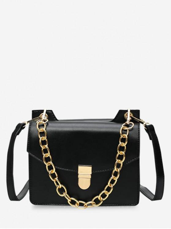 outfit Glossy Hasp Chain Design Shoulder Bag - BLACK
