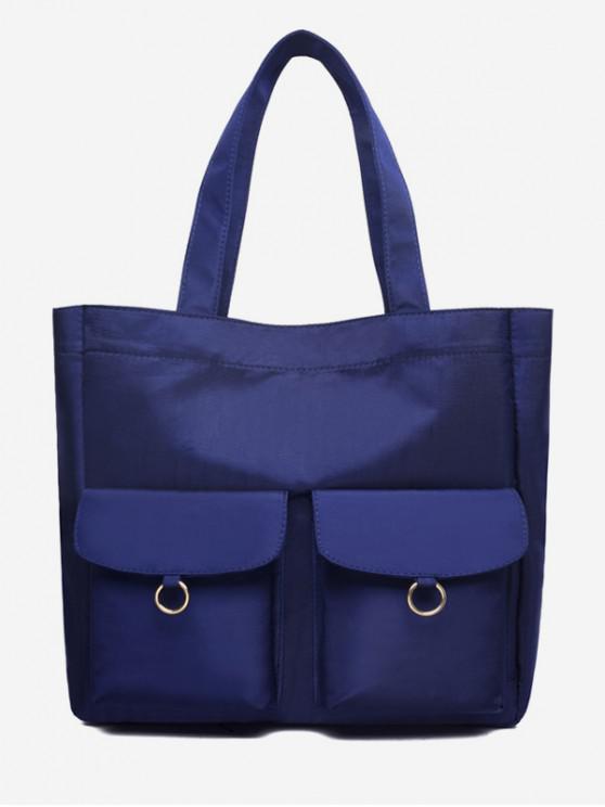 尼龍口袋設計水桶單肩包 - 藍色