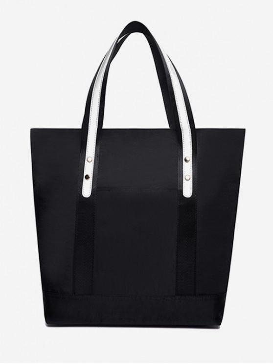 women Solid Nylon Bucket Shoulder Bag - BLACK