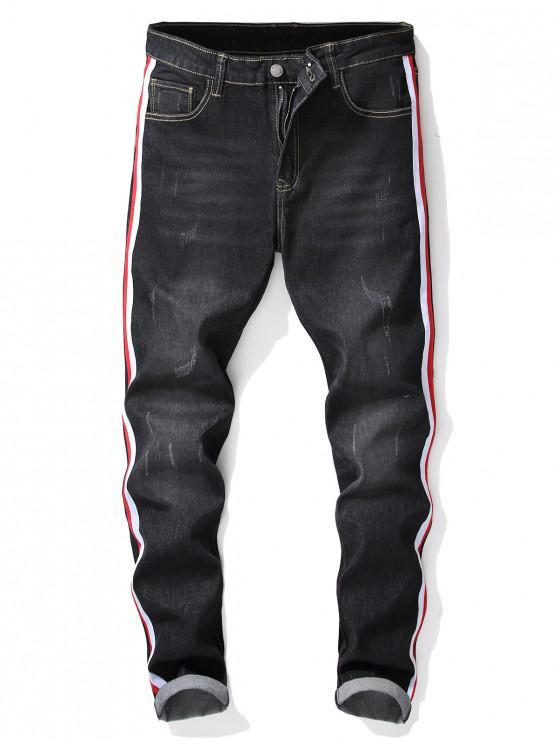 Stickerei Tier Streifendruck Jeans - Graphitschwarz 38