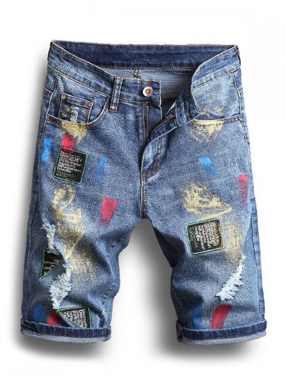 unique Metallic Painting Print Patchworks Ripped Jean Shorts - OCEAN BLUE 32