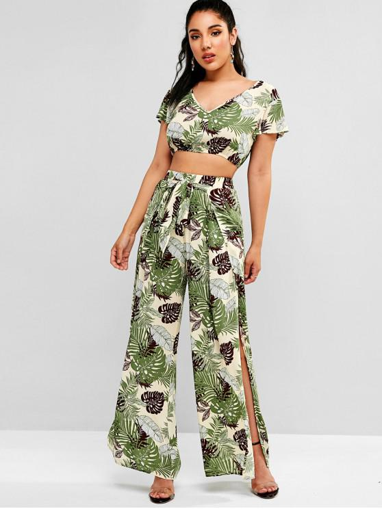 outfit ZAFUL Leaves Print Crop Top and Slit Pants Set - CORNSILK M