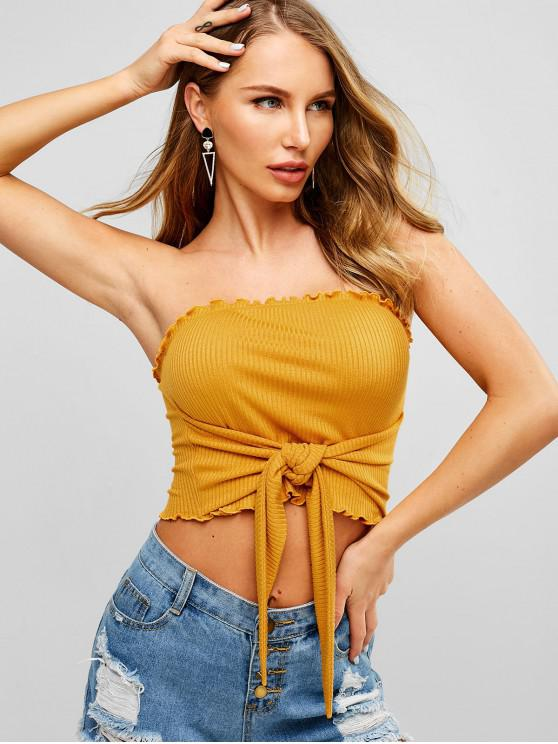 chic ZAFUL Knot Ribbed Bandeau Top - BEE YELLOW S