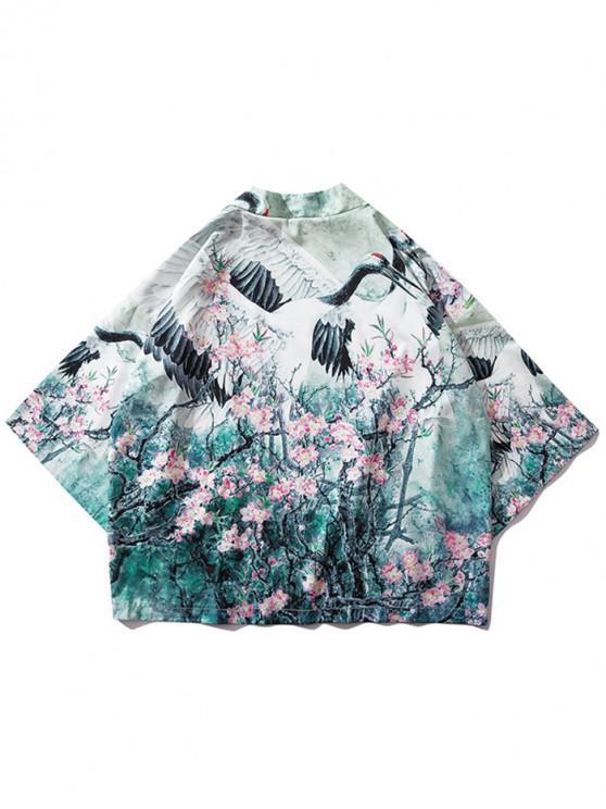 hot Tree Flowers Crane Painting Print Kimono Cardigan - COOL WHITE M