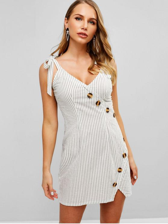 new ZAFUL Tied Straps Buttoned Stripes Dress - WHITE M
