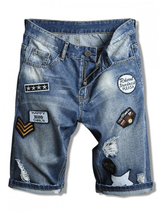 best Embroidery Badge Letters Print Ripped Jean Shorts - BLUEBERRY BLUE 38