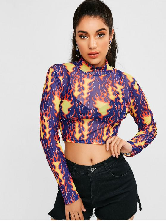 lady Voile Fire Print Cropped Tee - MULTI XL
