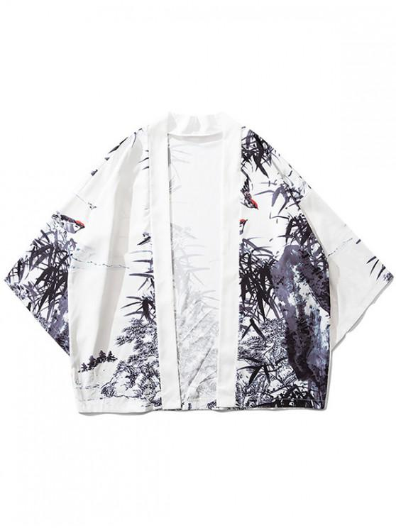 women Bamboos Ink Painting Print Kimono Cardigan - WHITE XL