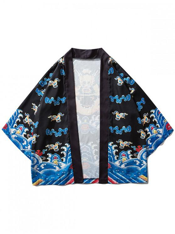 best Sea Waves Dragon Print Kimono Cardigan - BLACK XL