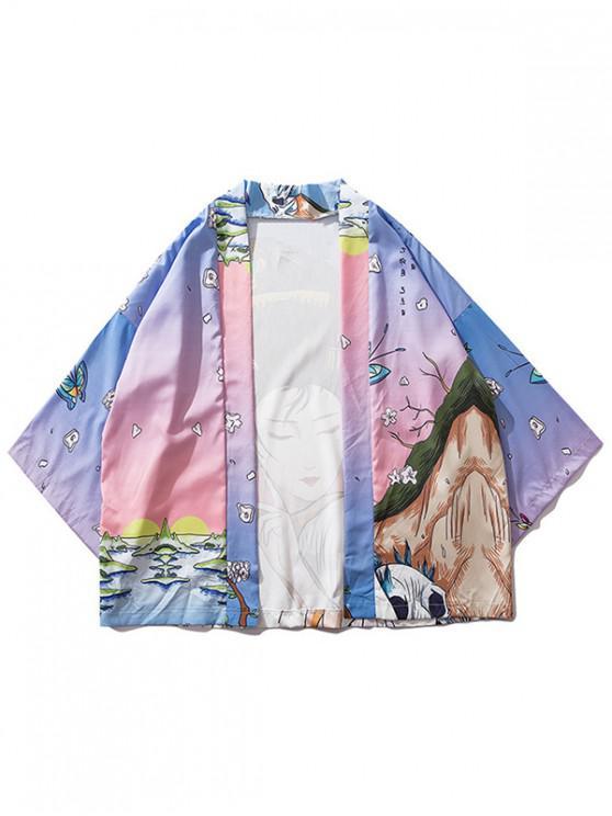 Schönheits- und Landschaftsmalerei-Druck-Kimono-Cardigan - Rosa XL