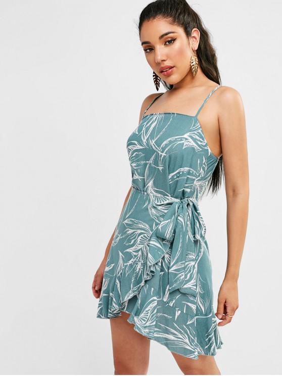shops ZAFUL Leaves Print Knotted Ruffles Dress - CYAN OPAQUE S