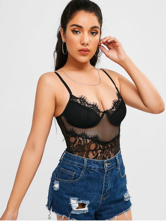 ladies Lace Mesh Cami Snap Crotch Bodysuit - BLACK L