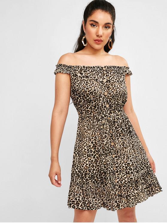 fashion ZAFUL Leopard Drawstring Mini Flounce Dress - LEOPARD L